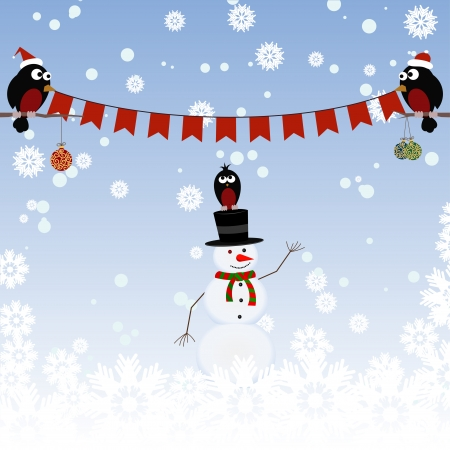 Greeting card with a snowman and bullfinches Vector