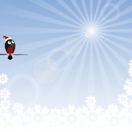 Winter background with rays and bullfinch Vector