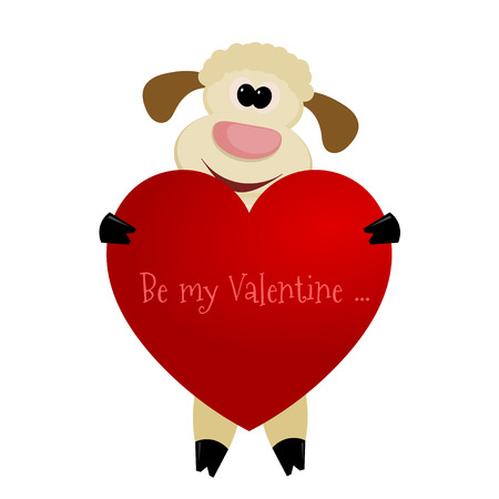 Cute lamb with a heart on a white background - greeting card with Valentines Day Vector