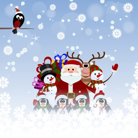 Greeting Christmas card with Santa Claus, reindeer, snowman, penguins and bullfinch Vector