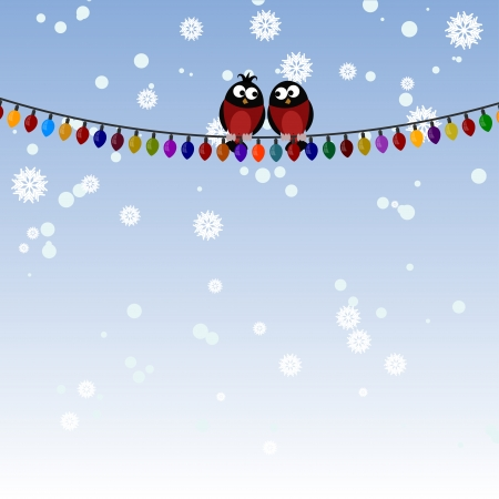 Two bullfinch on a Christmas garland Vector
