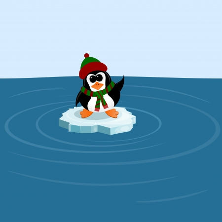 floe: Penguin on an ice floe in the sea