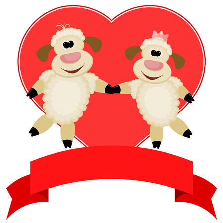 compliments: Two sheep on a background of red hearts - compliments of Happy Valentines Day Illustration