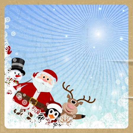 luminary: Santa Claus, reindeer, snowman, penguin on retro background