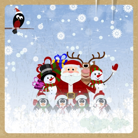 Greeting Christmas card with Santa Claus, reindeer, snowman, penguins and bullfinch on retro background Vector