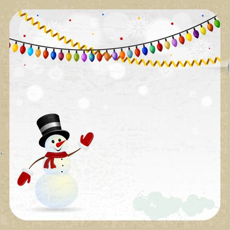 green tophat:  Christmas snowman on a retro  background Illustration