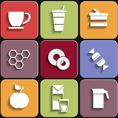 Set of flat food icons Vector