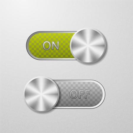 boton on off: ON y OFF en un fondo de metal Vectores