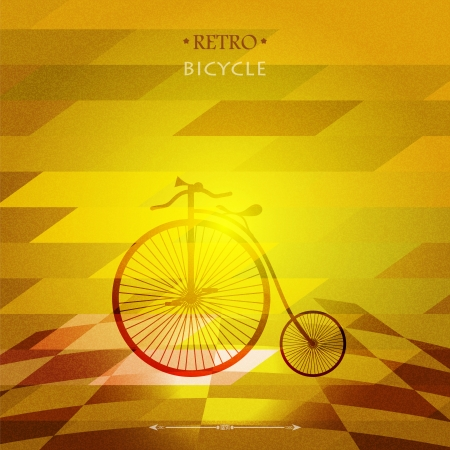 Retro bicycle  on a grungy background  Vector