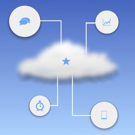 delineate: Realistic cloud with elements of infographics Illustration