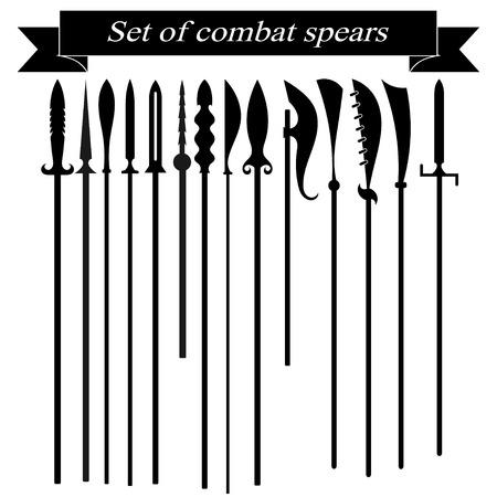 halberd: Set of silhouettes combat copies