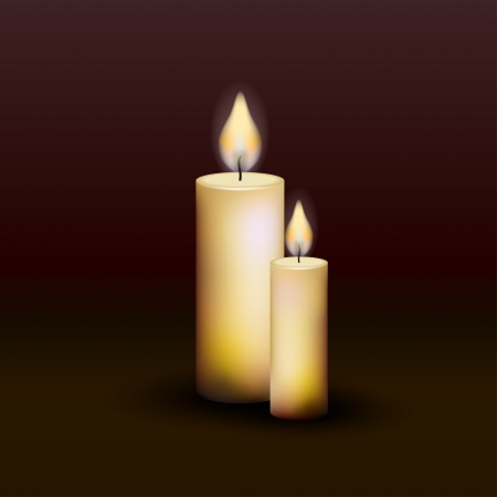 ight: Two burning candles on a dark background Illustration