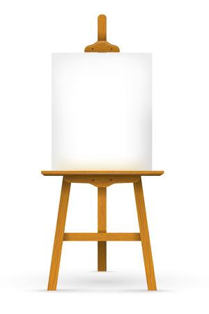 Chevalet en bois avec une toile vierge Banque d'images - 24973373