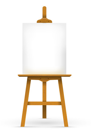 Wooden easel with blank canvas Stock Illustratie