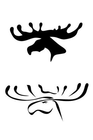Black silhouettes of elk head Vector