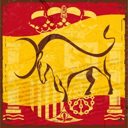 bandiera spagnola: Grunge bandiera spagnola con l'emblema e la silhouette di un toro nero Vettoriali