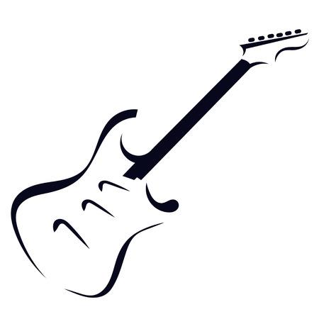 エレク トリック ギターの黒いシルエット