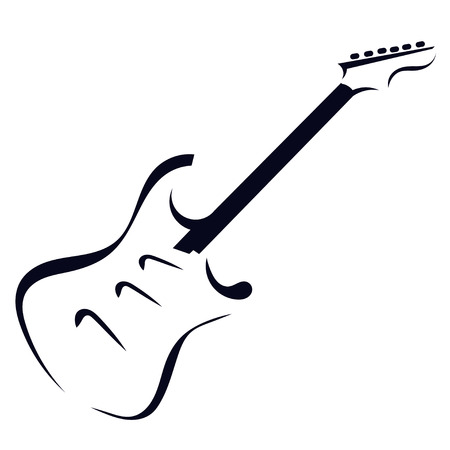 Black silhouette of electric guitar Illustration