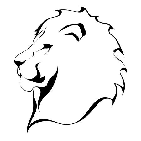 lion dessin: tête de lion sur un fond blanc. Tatouage Illustration