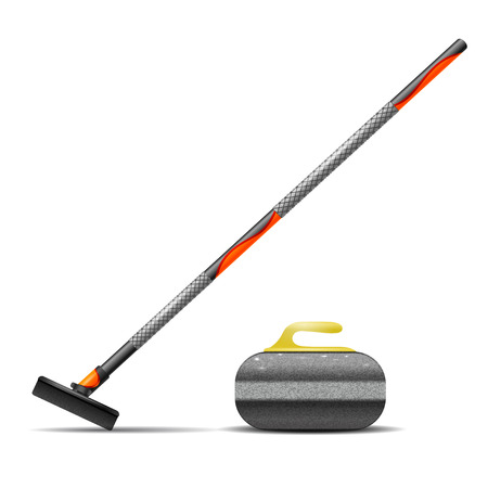 curling stone: Broom and stone for curling