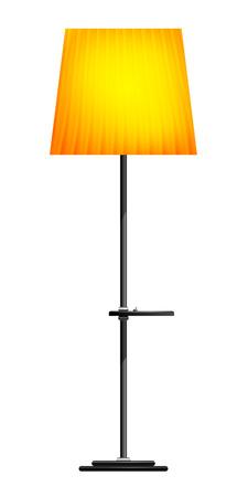 Lámpara de pie de color amarillo sobre un fondo blanco Ilustración de vector