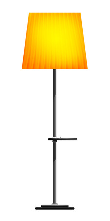 floor lamp: Yellow floor lamp on a white background