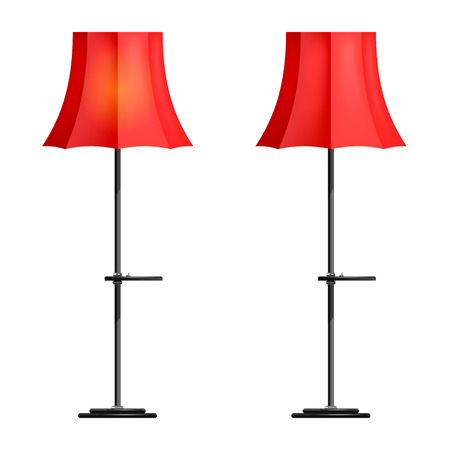 Red floor lamp on a white background