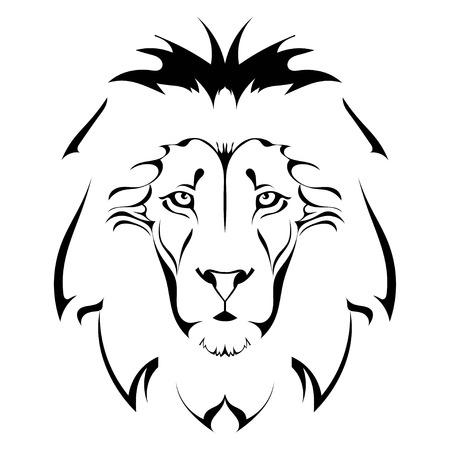 lion dessin: tête de lion. Tatouage