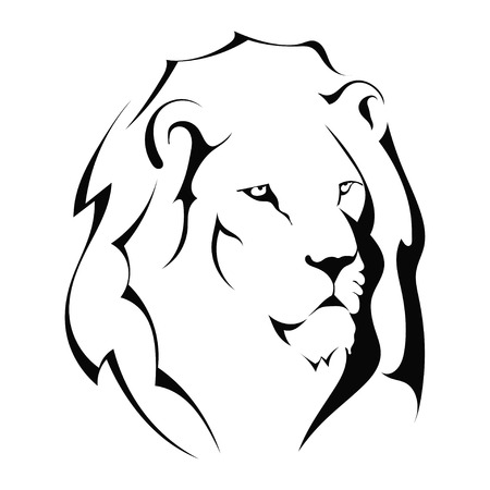 Lion head on a white background.