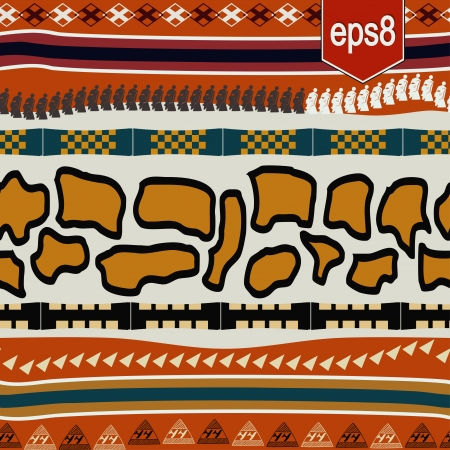 Seamless texture with African elements Vector