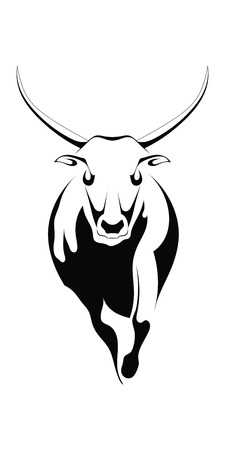 Black silhouette of a bull on a white background