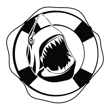 Shark in Lifebuoy on a white background Vector