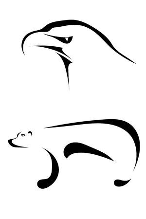grizzly: Silhouettes d'un aigle et un ours sur un fond blanc