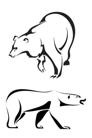 grizzly: Silhouettes d'ours sur un fond blanc