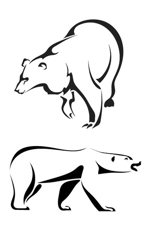 Silhouettes of bears on a white background