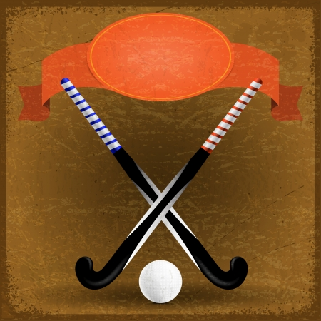 Old paper with sticks for field hockey Vector