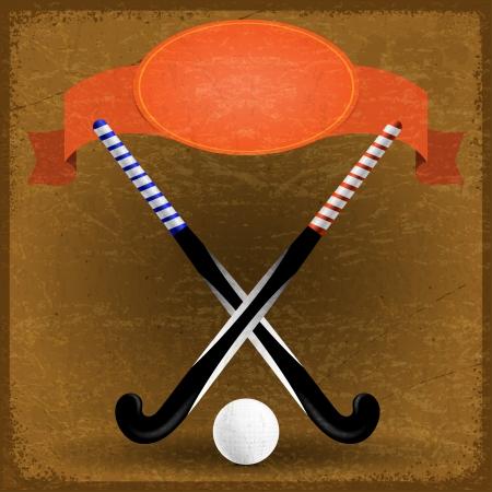 hockey cesped: Papel viejo con palos de hockey de campo Vectores