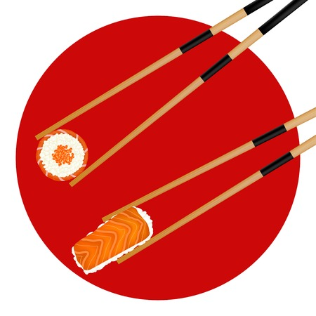 caviar: rouleau de Sushi de caviar rouge et de crevettes dans des baguettes isol� sur le drapeau japonais. Illustration