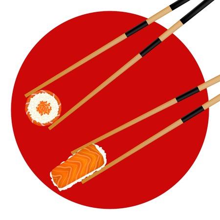 sushi roll: Rullo di sushi caviale rosso e gamberetti in bacchette isolato sulla bandiera giapponese. Vettoriali