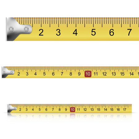 long and short scales: Set of measuring tapes on white