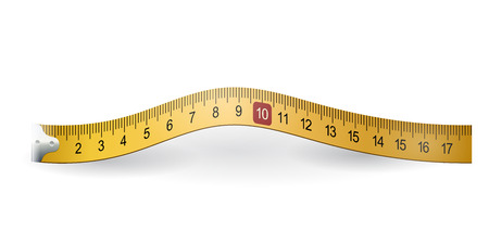 long and short scales: Yellow measuring tape Illustration