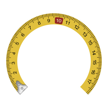 Yellow measuring tape in the shape of a horseshoe