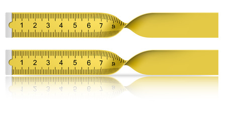 long and short scales: Yellow measuring tape with reflection