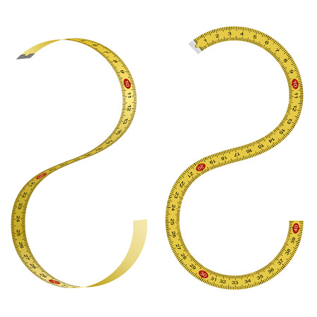long and short scales: Set of curved measuring tapes on white