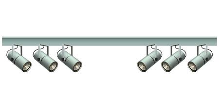 Spotlights on a metal beam