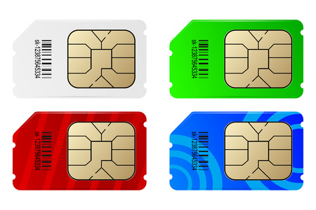 Set of color SIM cards Vector