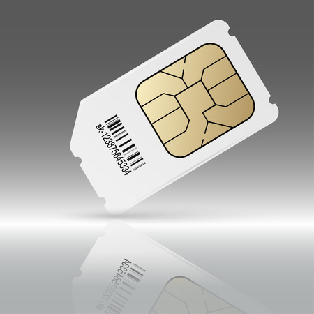 sim: Phone sim card with reflection