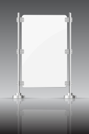 glass reflection:  Glass screen with metal racks on a dark background with reflection Illustration