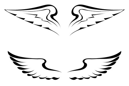 bird  celtic: Black tattoo wings on a white background