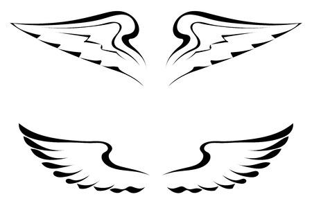 celtic mythology: Black tattoo wings on a white background
